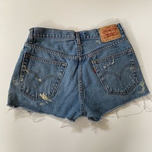 Levis Distressed Paint Splattered High Rise Shorts